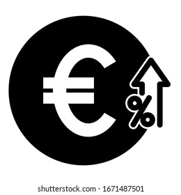 Euro grow up icon design. Money Euro cost grow up icon in trendy silhouette style design. Vector illustration.