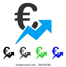 Euro Growth vector pictograph. Style is a flat graphic symbol in black, grey, blue, green color variants. Designed for web and mobile apps.
