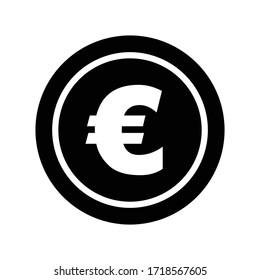 euro icon in flat style. black