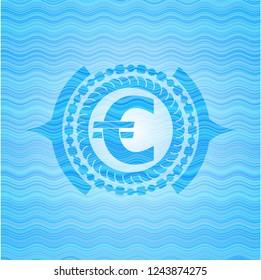 euro icon inside water wave representation badge background.