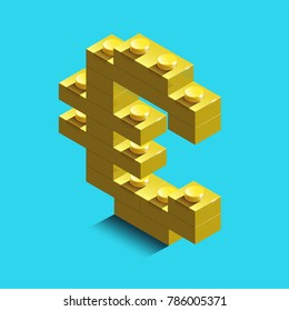 Euro Icon in trendy didgital style isolated on blue background. Euro symbol for your web site design, logo, app. Realistic  gold 3d isometric euro from the building blocks. lego sign from blocks.