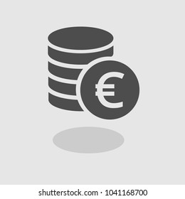 Euro Icon Vector. Payment system. Coins and Euro icon isolated on white background. Flat design style. Business/finance concept.European currency
