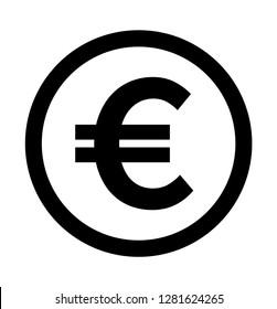 Euro icon vector. Euro Symbol On Circle.