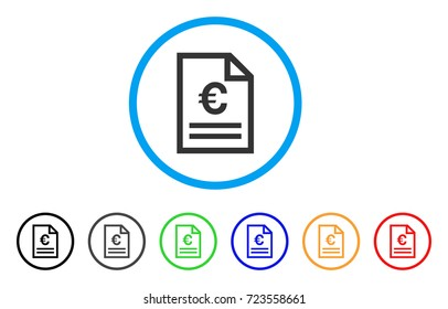 Euro Invoice Page rounded icon. Style is a flat euro invoice page grey symbol inside light blue circle with black, gray, green, blue, red, orange variants.