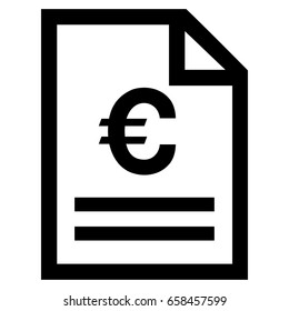 Euro Invoice Page vector icon. Flat black symbol. Pictogram is isolated on a white background. Designed for web and software interfaces.