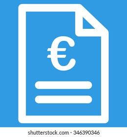 Euro Invoice vector icon. Style is flat symbol, white color, rounded angles, blue background.