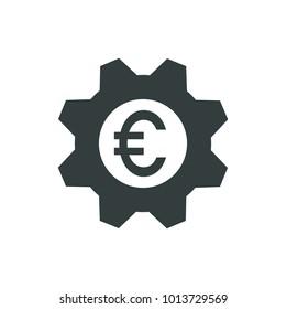 Euro mark inside a gear icon.