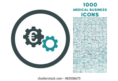 Euro Mechanics rounded vector bicolor icon with 1000 medical business icons. Set style is flat pictograms, soft blue colors, white background.