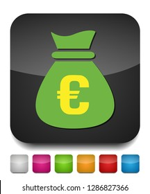 euro money bag - currency symbol, investment icon - banking sign, banking cash