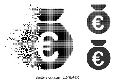 Euro money bag icon in fragmented, pixelated halftone and undamaged versions. Cells are grouped into vector disappearing Euro money bag pictogram. Disappearing effect uses rectangle scintillas.