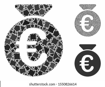 Euro money bag mosaic of trembly items in different sizes and color tones, based on Euro money bag icon. Vector rough items are composed into collage. Euro money bag icons collage with dotted pattern.