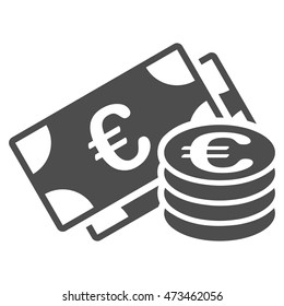 Euro Money icon. Vector style is flat iconic symbol with rounded angles, gray color, white background.