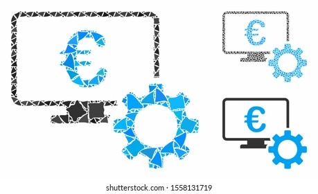 Euro online bank options mosaic of tuberous elements in variable sizes and color hues, based on Euro online bank options icon. Vector tremulant elements are composed into collage.