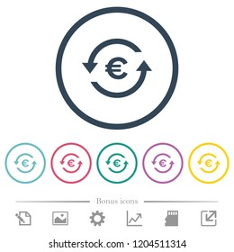 Euro pay back flat color icons in round outlines. 6 bonus icons included.