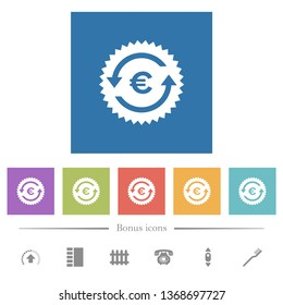 Euro pay back guarantee sticker flat white icons in square backgrounds. 6 bonus icons included.