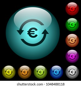 Euro pay back icons in color illuminated spherical glass buttons on black background. Can be used to black or dark templates