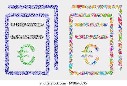 Euro price pages mosaic icon of triangle elements which have variable sizes and shapes and colors. Geometric abstract vector illustration of euro price pages.