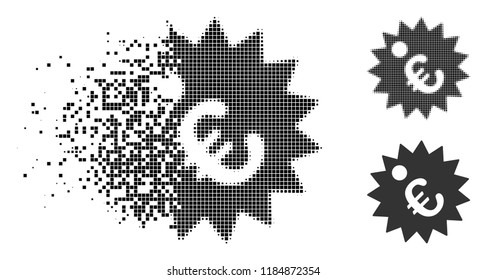 Euro price tag icon in fractured, dotted halftone and original variants. Points are arranged into vector disappearing Euro price tag icon. Disappearing effect involves rectangular scintillas.
