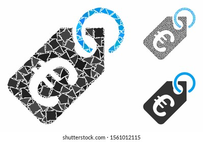 Euro price tag mosaic of ragged pieces in variable sizes and color tones, based on Euro price tag icon. Vector rough pieces are grouped into mosaic. Euro price tag icons collage with dotted pattern.