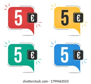 €5 euro price. Yellow, red, blue and green currency tags. Balloon concept with five euros sales tag.