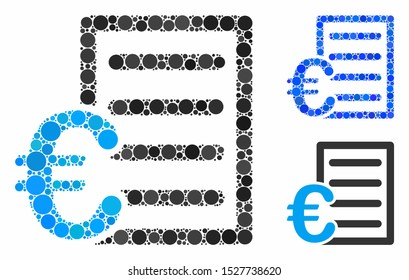 Euro pricelist composition of small circles in different sizes and color hues, based on Euro pricelist icon. Vector small circles are composed into blue composition.