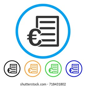 Euro Pricelist icon. Vector illustration style is a flat iconic Euro pricelist grey rounded symbol inside light blue circle with black, green, blue, yellow color variants.