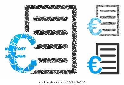 Euro pricelist mosaic of ragged parts in variable sizes and color hues, based on Euro pricelist icon. Vector tuberous parts are combined into mosaic. Euro pricelist icons collage with dotted pattern.
