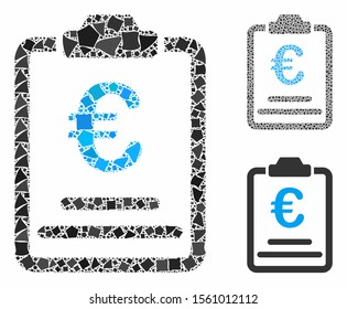 Euro prices composition of rough parts in various sizes and shades, based on Euro prices icon. Vector uneven parts are composed into composition. Euro prices icons collage with dotted pattern.