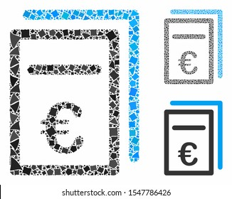 Euro pricing documents composition of tuberous elements in different sizes and color hues, based on Euro pricing documents icon. Vector raggy elements are combined into composition.