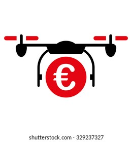 Euro Quadcopter Payment vector icon. Style is bicolor flat symbol, intensive red and black colors, rounded angles, white background.