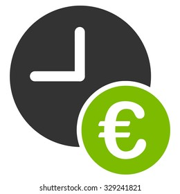 Euro Recurring Payments vector icon. Style is bicolor flat symbol, eco green and gray colors, rounded angles, white background.