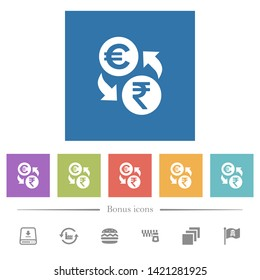 Euro Rupee money exchange flat white icons in square backgrounds. 6 bonus icons included.