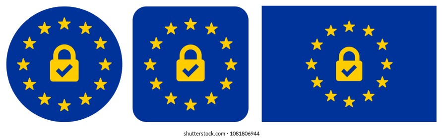 Euro Security Lock Icons