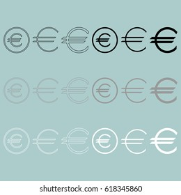 Euro sign simple and in round icon set.
