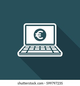 Euro - Smart online banking services - Vector flat icon