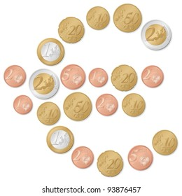 Euro symbol formed by euro coins on a white background. Vector illustration.