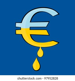 The Euro symbol from which the gold dripping drops