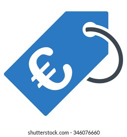 Euro Tag vector icon. Style is bicolor flat symbol, smooth blue colors, rounded angles, white background.