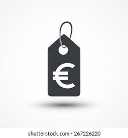 Euro tag web black icon on a white background. Vector symbol.