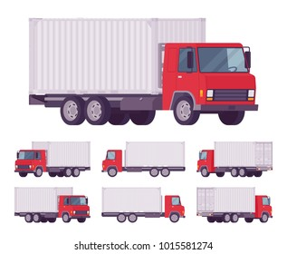 Euro truck, metal container. Large lorry, heavy road vehicle for carrying goods. Delivery, logistics, warehousing and transportation. Vector flat style cartoon illustration isolated, white background
