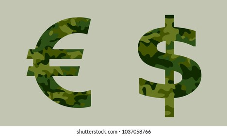Euro and US dollar symbols with khaki camouflage pattern. Metaphor of budget and funds of army and military / money spent as investment into armament and militarization