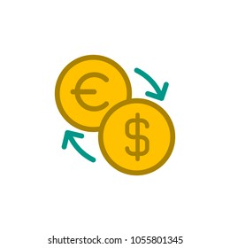 euro usd exchange flat vector icon. Modern simple isolated sign. Pixel perfect vector  illustration for logo, website, mobile app and other designs