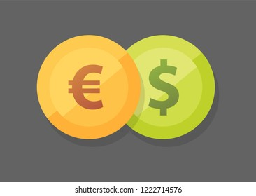 Euro vs American Dollar. Currency pair of Euro vs Dollar vector icon on dark background