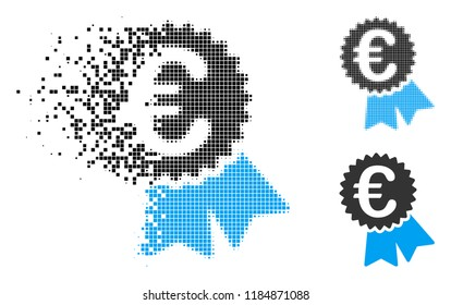 Euro warranty seal icon in dispersed, pixelated halftone and whole variants. Elements are arranged into vector disappearing Euro warranty seal figure. Disappearing effect uses rectangle scintillas.