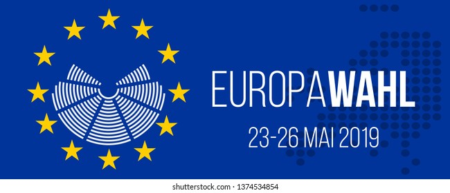 europawahl 23-26 mai 2019 - european elections 23-26 may 2019 german vector poster