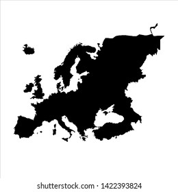 europe blank map vector . europe map template . europe silhouette . black europe map . european continent
