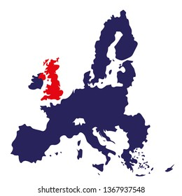 Europe Brexit map with contrast colors, UK marked red and EU marked blue