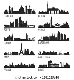 Europe Cities Most Famous Skyline City Silhouette Design Collection Set Pack