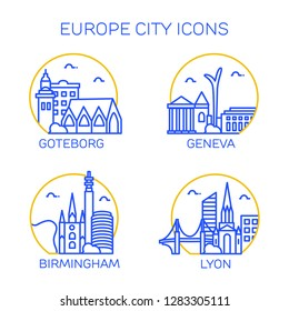 Europe city icons. Set of four citys. Goteborg, Geneva,Birminghem, Lyon.   Vector