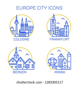 Europe city icons. Set of four citys. Cologne, Frankfurt, Bergen, Minsk.  Vector